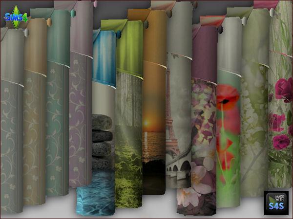 Sims 4 3 curtain sets by Mabra at Arte Della Vita
