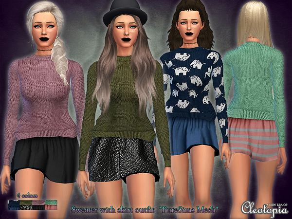 Sims 4 Knit Sweater with skirt outfit by Cleotopia at TSR