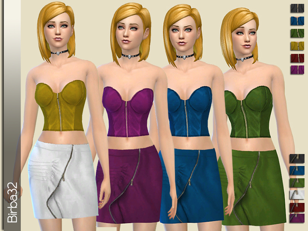 Sims 4 Leather Top and Skirt with zip by Birba32 at TSR