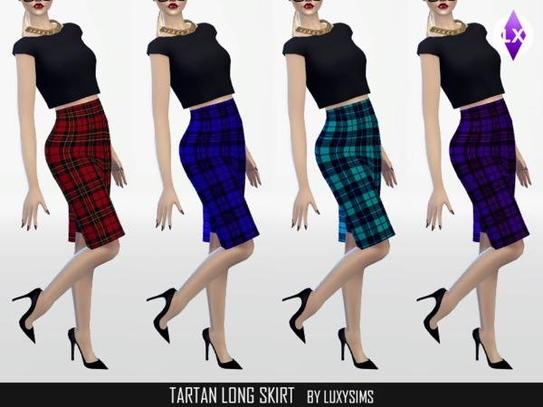 Tartan Long Skirt by LuxySims3 at TSR image 4102 Sims 4 Updates
