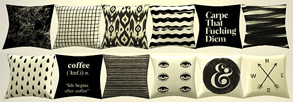 Sims 4 Assorted pillows and prints sets at Puresims