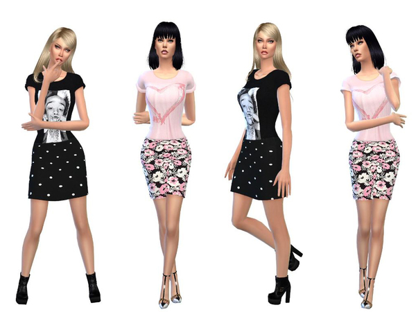 Sims 4 Black and rose heart tops + skirts by simsoertchen at TSR
