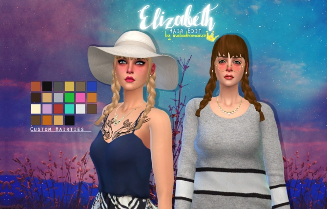 Sims 4 Elizabeth hair edit at In a bad Romance
