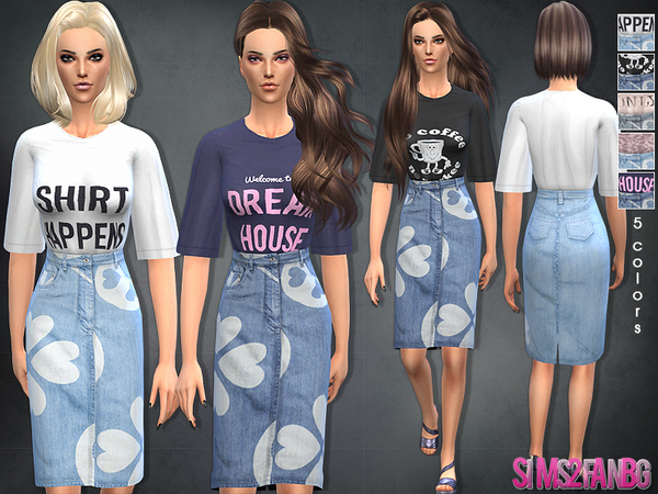 Sims 4 Denim skirt with top by sims2fanbg at TSR