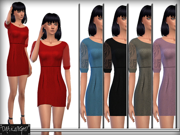 Elegant Night Dress with Tulle Sleeve by DarkNighTt at TSR image 505 Sims 4 Updates
