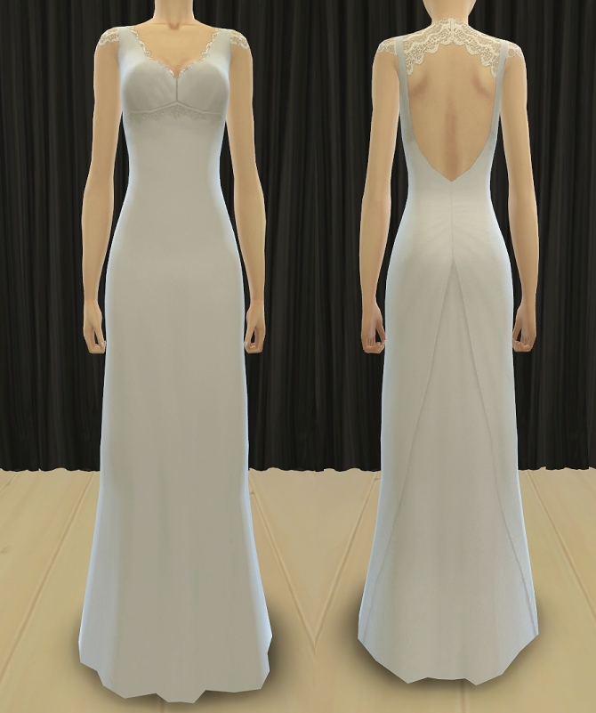 Sims 4 Queen of Lace Wedding Dress at Pickypikachu
