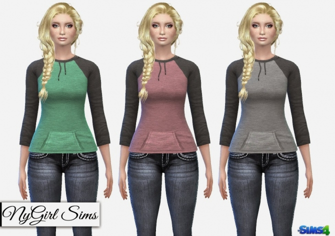 Sims 4 Hooded Pullover Shirt with Ties at NyGirl Sims