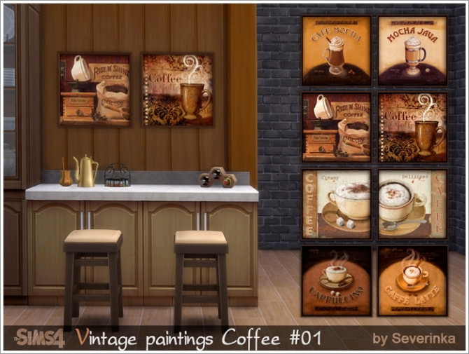 Coffee time vintage paintings set at Sims by Severinka image 5614 Sims 4 Updates