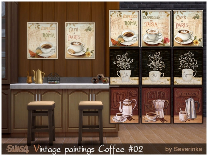 Coffee time vintage paintings set at Sims by Severinka image 5716 Sims 4 Updates