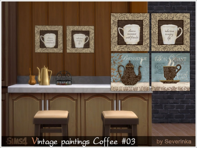 Coffee time vintage paintings set at Sims by Severinka image 5815 Sims 4 Updates