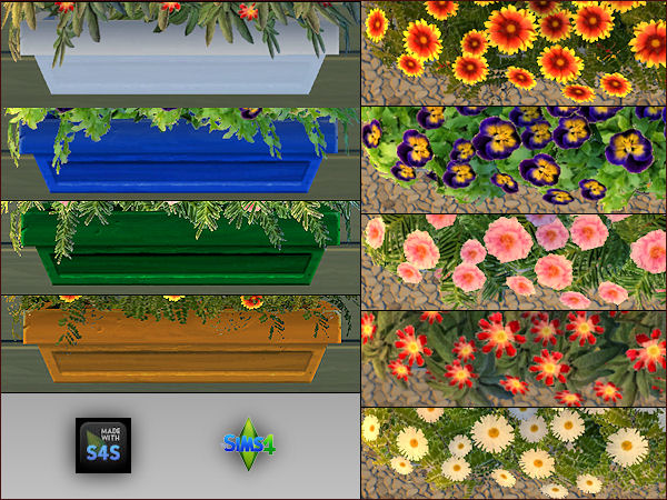 4 plant pots with 5 different flowers by Mabra at Arte Della Vita image 597 Sims 4 Updates