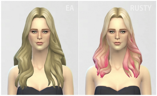 GP 01 Long Wavy Parted Ombre hair edit at Rusty Nail image 6020 Sims 4 Updates