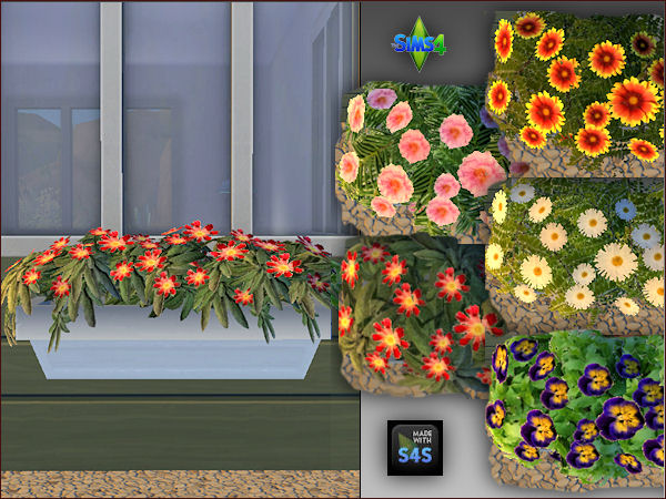 Sims 4 4 plant pots with 5 different flowers by Mabra at Arte Della Vita