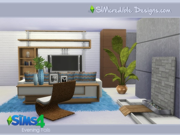 Evening falls livingroom by simcredible at tsr sims 4 for Modern living room sims 4