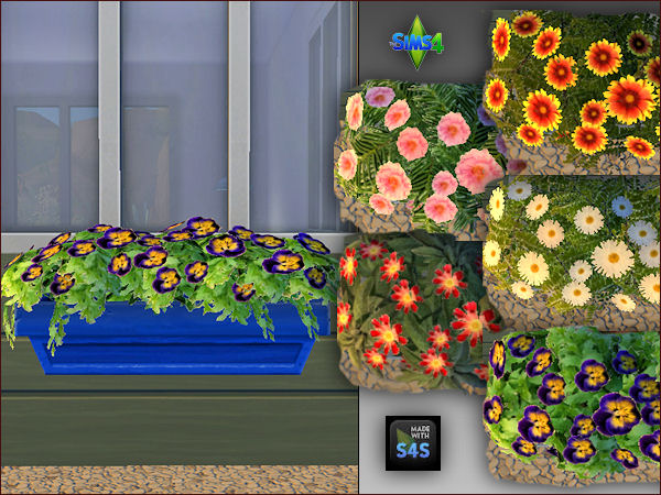 4 plant pots with 5 different flowers by Mabra at Arte Della Vita image 6111 Sims 4 Updates
