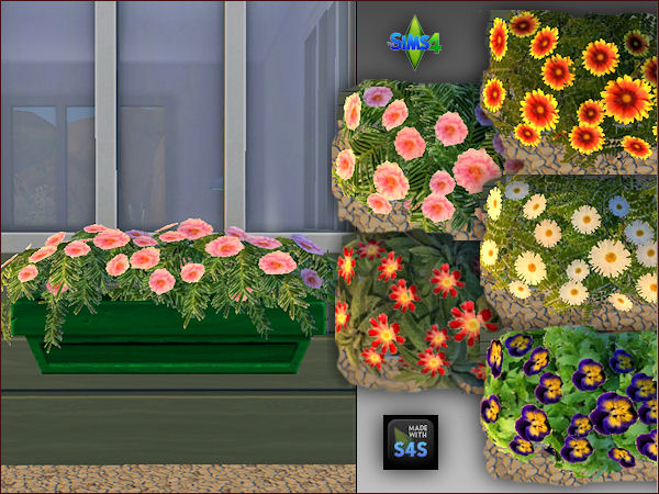 4 plant pots with 5 different flowers by Mabra at Arte Della Vita image 628 Sims 4 Updates