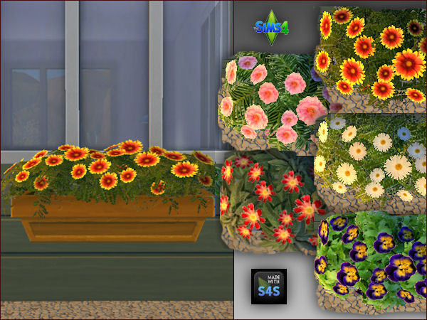 4 plant pots with 5 different flowers by Mabra at Arte Della Vita image 637 Sims 4 Updates