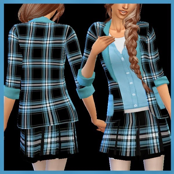 Checked jacket and skirt combo at Dachs Sims image 638 Sims 4 Updates