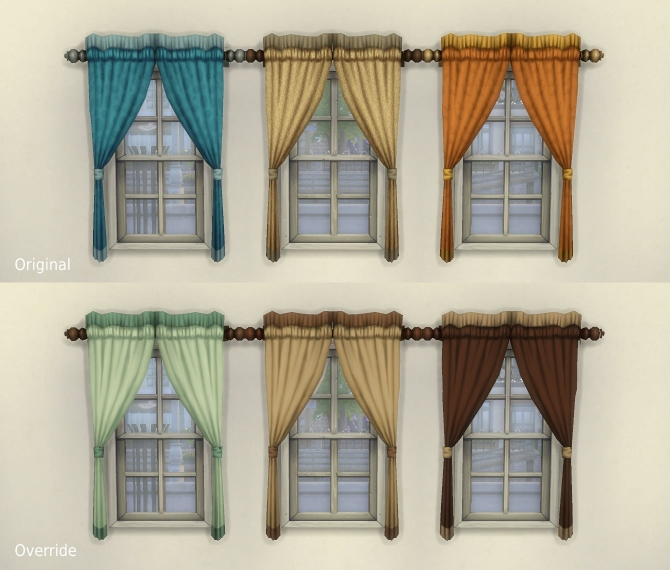 """Sims 4 One Tile """"Caress"""" Curtain + Overrides by plasticbox at Mod The Sims"""
