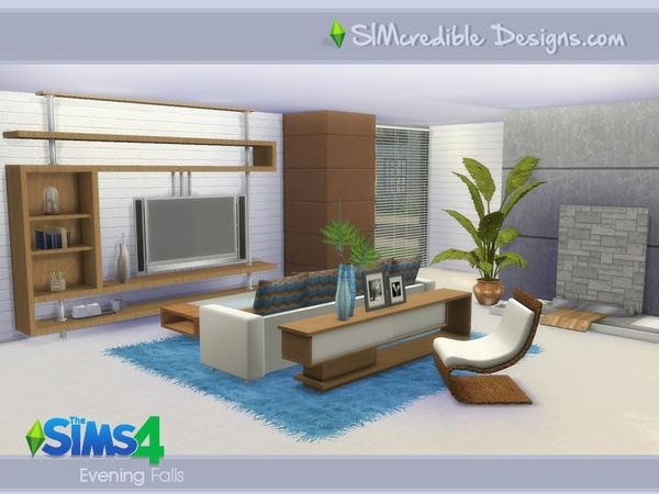 Evening Falls livingroom by SIMcredible! at TSR image 7100 Sims 4 Updates