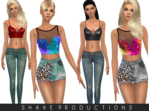Tops, shorts and jeans by ShakeProductions at TSR image 7221 Sims 4 Updates