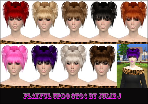 Playful Updo hair convertion 3to4 at Julietoon – Julie J image 7416 Sims 4 Updates
