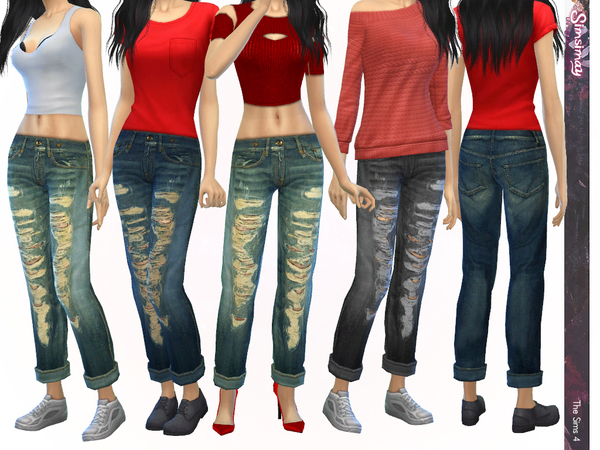 Sims 4 Casual Tomboy Boyfriend Jeans by Simsimay at TSR
