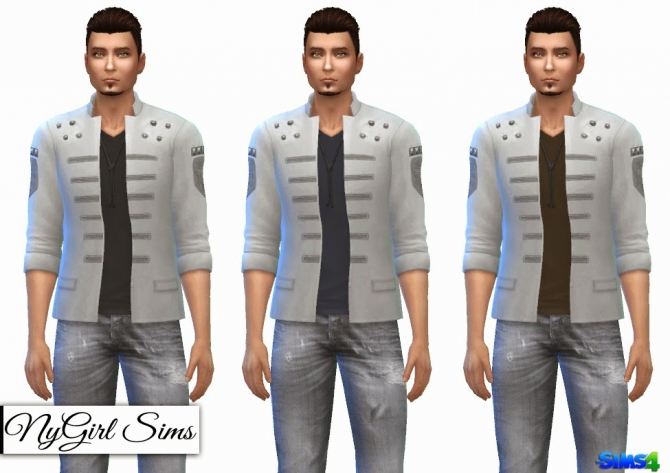 Sims 4 Military Jacket with V Neck Tee at NyGirl Sims