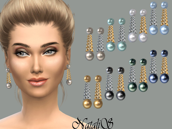 Sims 4 Spike and pearl drop earrings by NataliS at TSR