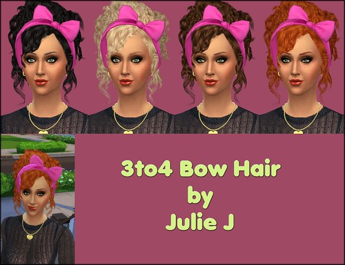 3to4 Bow Hair at Julietoon – Julie J image 88 1 Sims 4 Updates