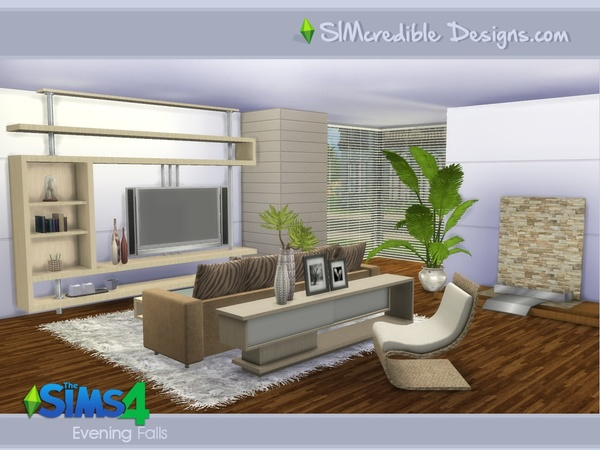 Evening Falls livingroom by SIMcredible! at TSR image 880 Sims 4 Updates