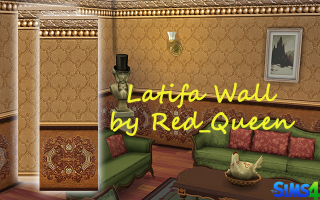 Sims 4 Latifa Wall by Red Queen at ihelensims