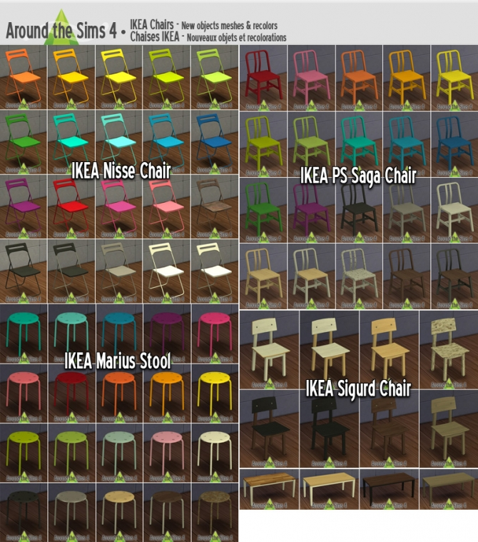 Sims 4 IKEA Dining Chairs + Simplicy Table Wood at Around the Sims 4