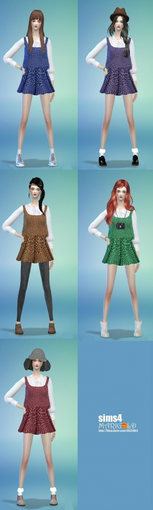 Sims 4 Top, dresses, hat and bracelet at Marigold
