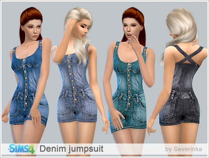 Sims 4 Denim jumpsuit at Sims by Severinka