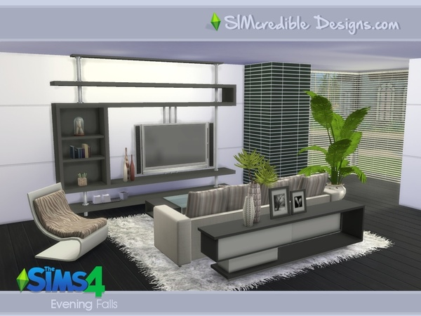 Evening Falls livingroom by SIMcredible! at TSR image 990 Sims 4 Updates