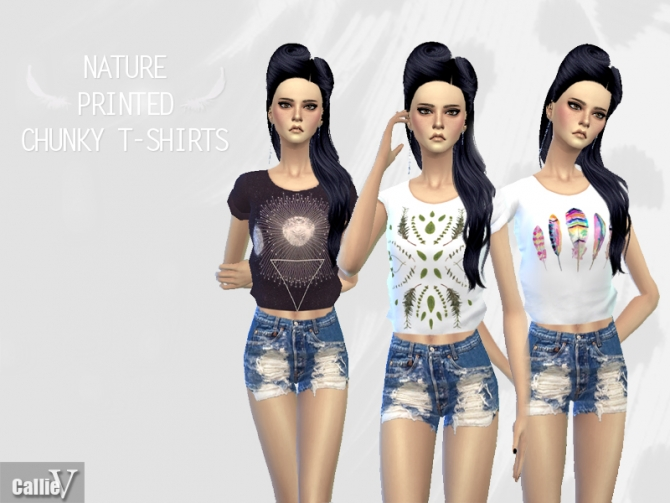 3 Nature Printed Chunky T Shirts At Calliev Plays Sims 4 Updates