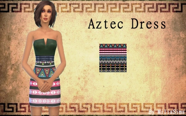 Sims 4 AZTEC dress by Milia at Sims Artists