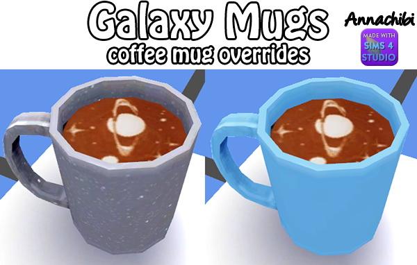 Sims 4 Animal and Galaxy coffee mug overrides! at Annachibi's Sims