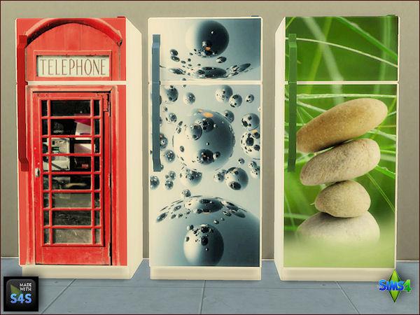 Sims 4 3 fridge sets with 3 designs by Mabra at Arte Della Vita