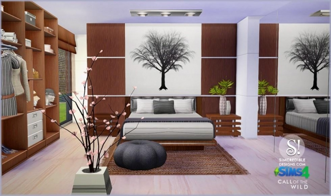 Call of the wild bedroom at simcredible designs 4 sims for Bedroom designs sims 4