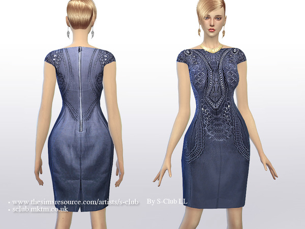 Sims 4 Embroidered dress by S Club LL at TSR