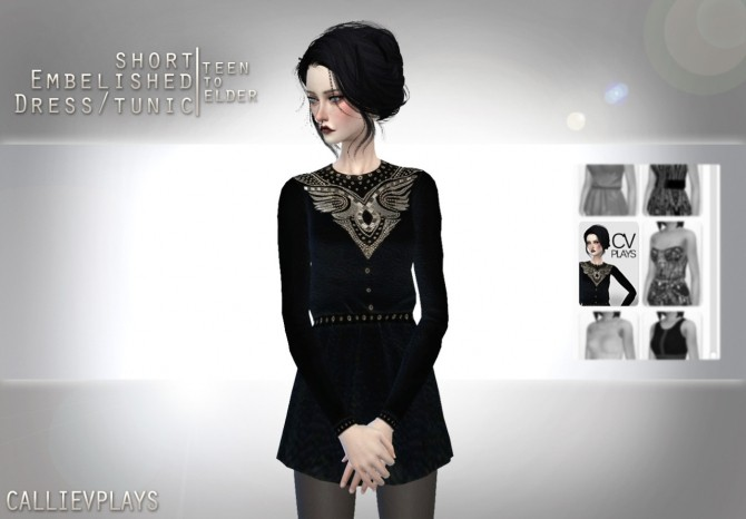 Embellished short leather dress at CallieV Plays image 12191 670x466 Sims 4 Updates