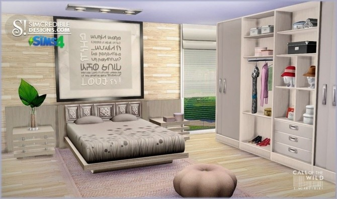 Call of the wild bedroom at SIMcredible! Designs 4 image 12341 670x397 Sims 4 Updates
