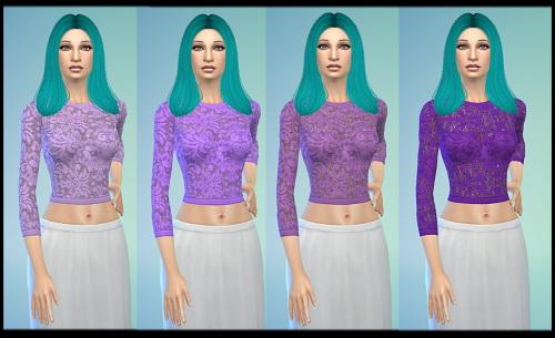 Sims 4 Lace Crop tops recolor at Tacha 75