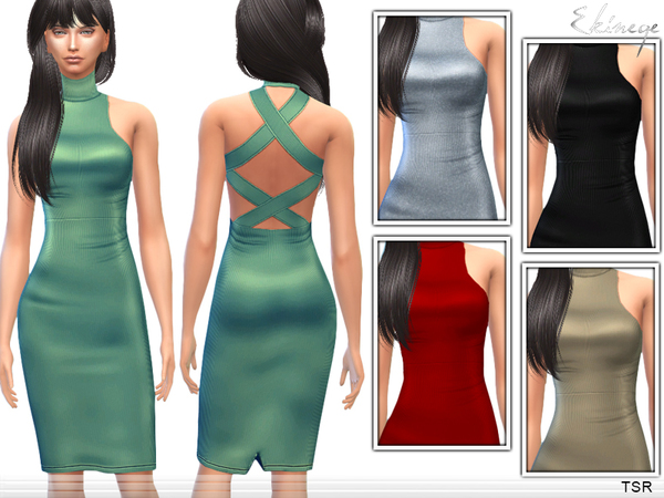 Sims 4 Cross Back Dress by ekinege at TSR