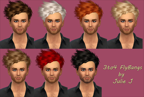 Sims 4 3to4 Fly Bangs Hair (Male) at Julietoon – Julie J