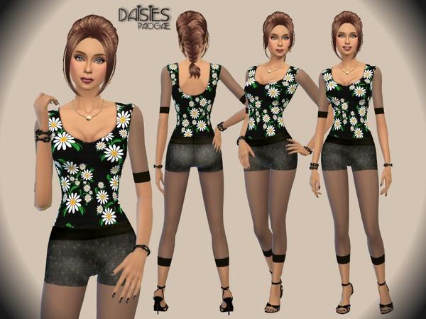 Sims 4 Daisies top by Paogae at TSR