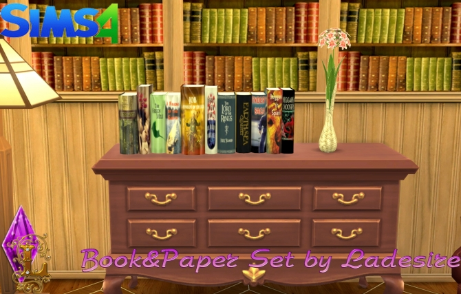 Sims 4 Book & Paper Set at Ladesire