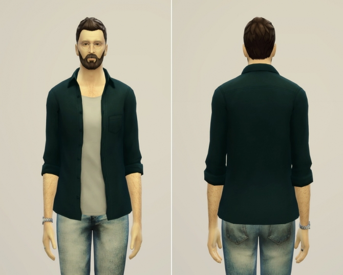 Open Shirt Edit In 12 Solid Colors At Rusty Nail 187 Sims 4